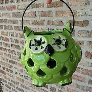 3/$18 Crackled Owl tea light candle holder green